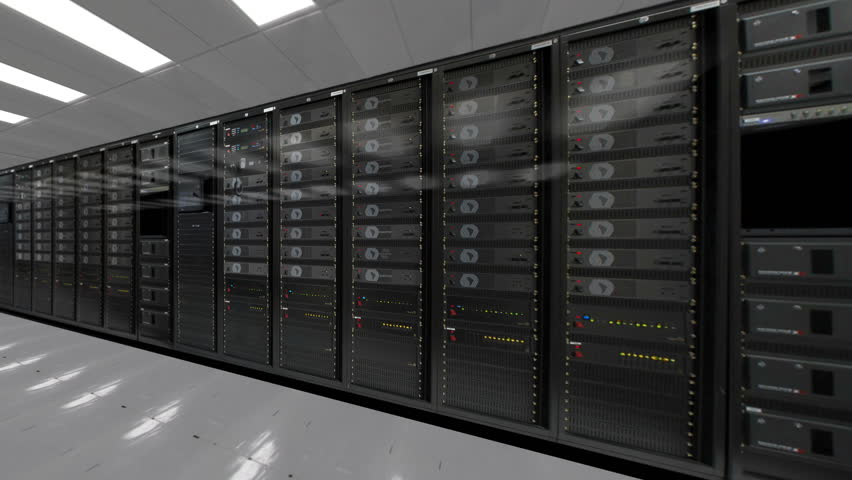Dolly shoot of row of network servers data center room 4K quad HD ultra resolution