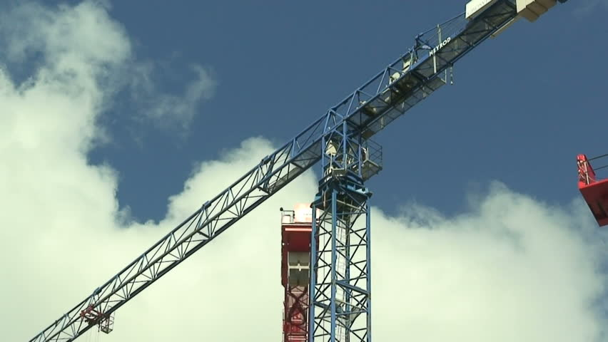 Large Construction Cranes : Large construction cranes stock footage