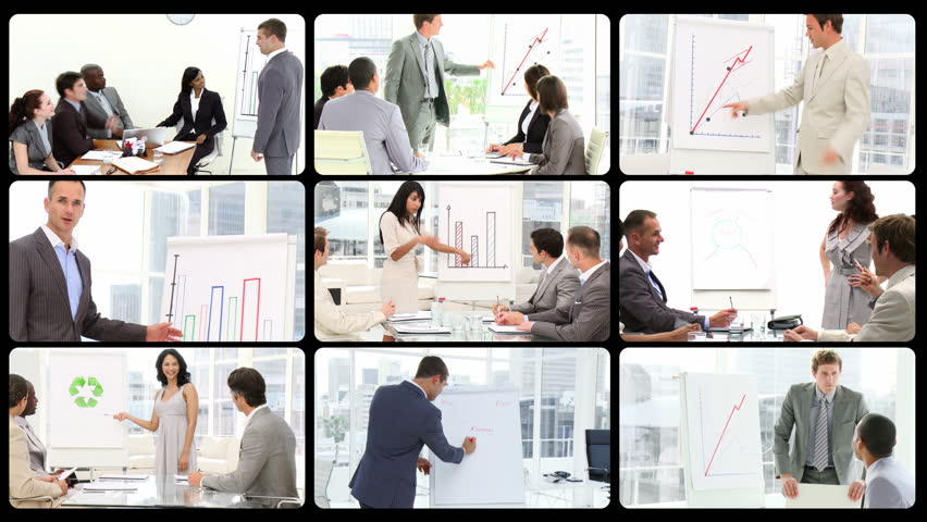 Montage of managers doing presentations in HD  - HD stock video clip