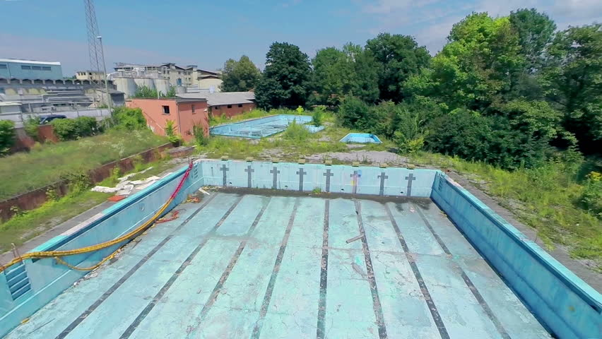 Ljubljana slovenia august 2014 flying in to abandoned for Empty swimming pool