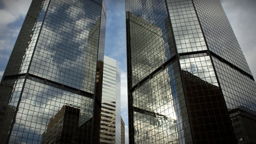 (1185) City Skyscrapers Urban Office Buildings Architecture Time-lapse Clouds LOOP.  - HD stock video clip