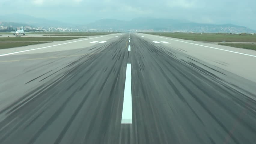 Aircraft takeoff. Crew view