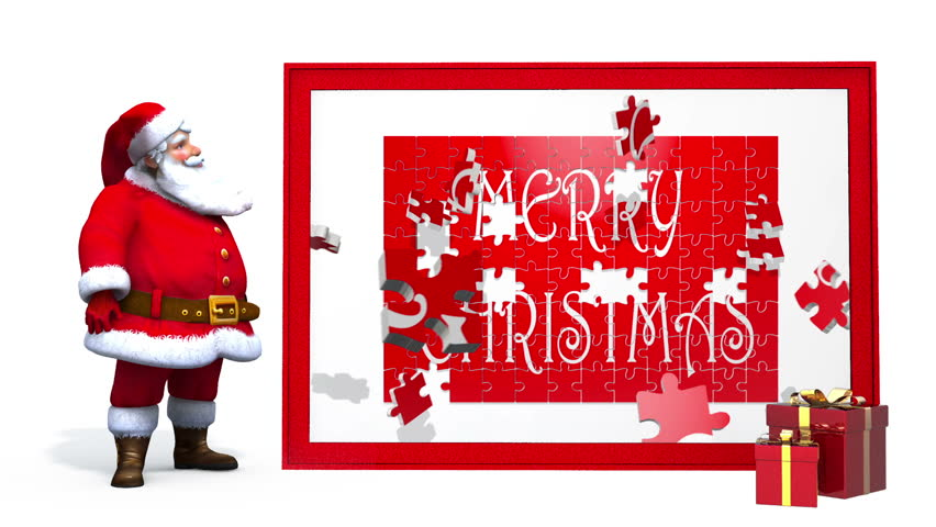 Santa with Merry Christmas puzzle