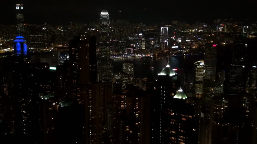 HONG KONG - CHINA, MAY 15, 2012, Timelapse of aerial view of Symphony Lights show by night