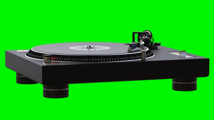 Turntable spinning vinyl records on green chroma key background