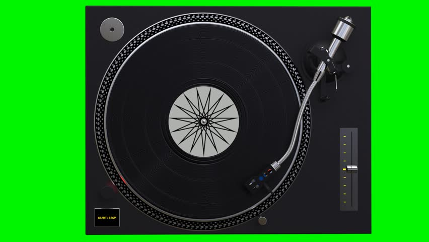 Turntable spinning vinyl records on green chroma key background top view