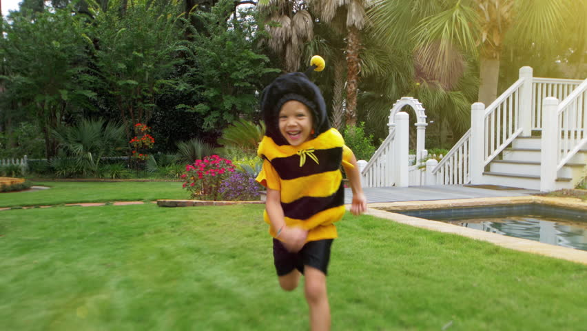 4k Adorable boy in a Bumble Bee costume running in the spring time with flowers around - 4K stock footage clip