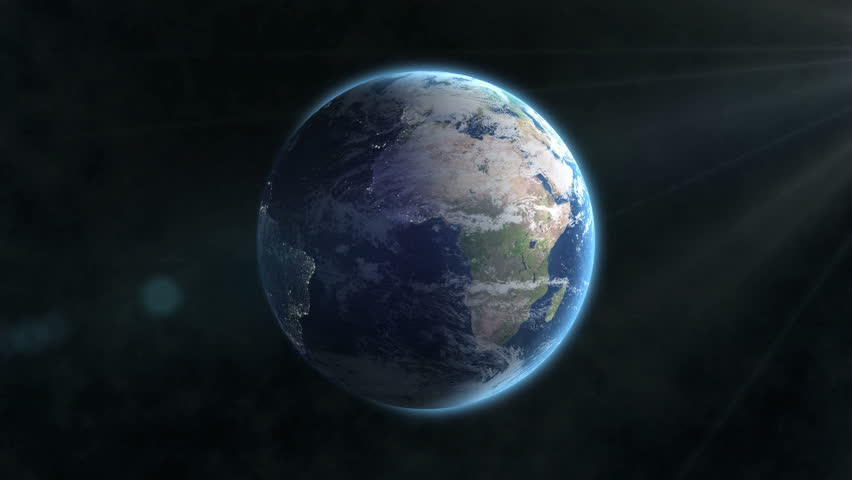 Earth rotation 360 degrees with the Sun light lens flare. Looped animation. 4K