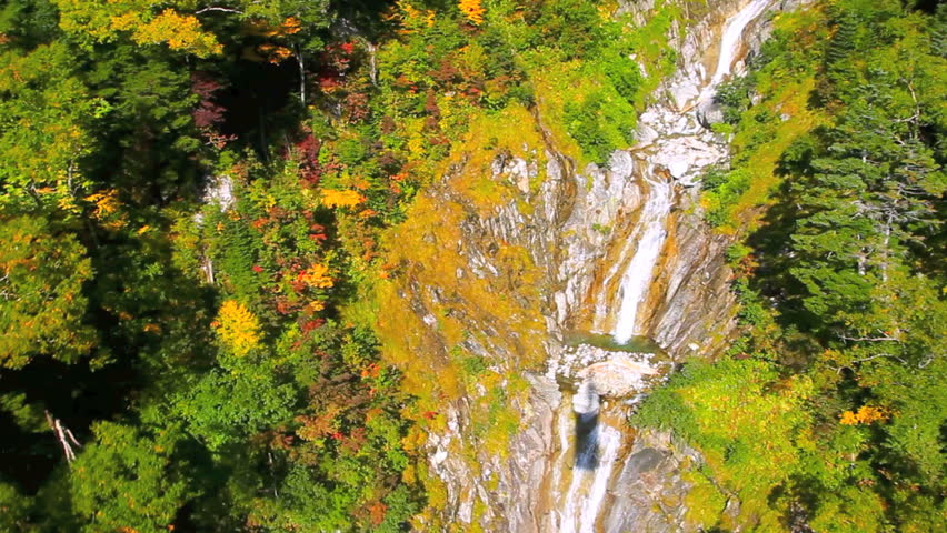 Aerial View: Autumn in the mountains. Central Alps, Japan.
