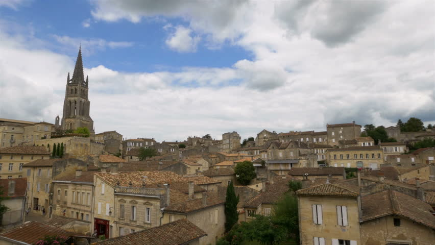 Overlooking Saint Emilion with the iconic Monolithic church or Eglise Monolithe, being the prominent feature. Saint Emilion is one of the principal red wine areas of Bordeaux.