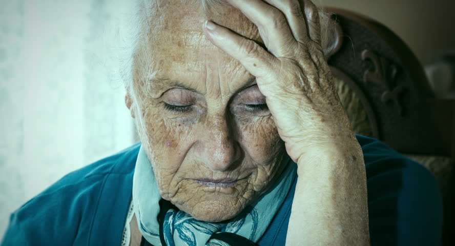 Sad Old Woman Hand On Head Stock Footage Video 7519555