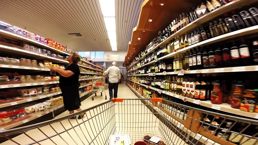 October 2014, a busy  supermarket in the suburbs of  Athens, Greece.