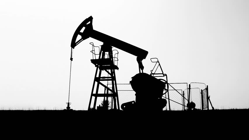 Oil Industry Pumpjack in the Field, Dramatic Silhouette, Side Take, Seamless Loop-able, 1920x1080 25p - HD stock footage clip