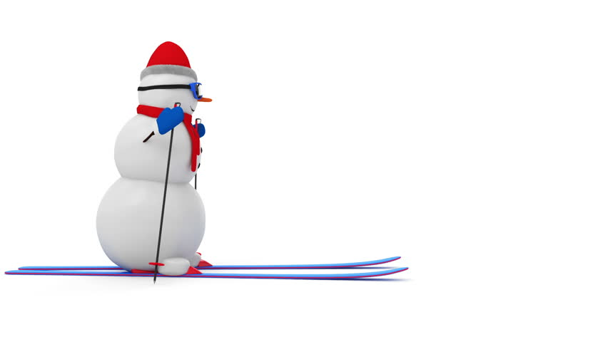 Animation of Happy Snowman on Skiing isolated on white background. HQ Video Clip