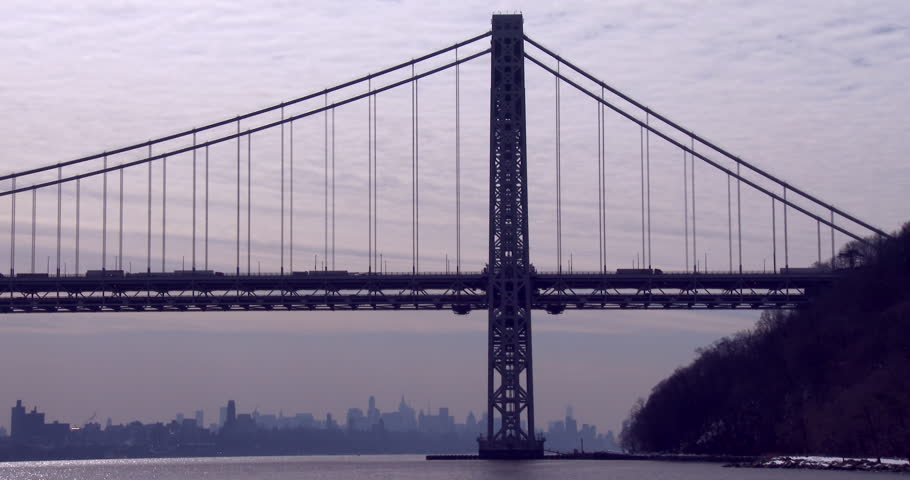 The George Washington Bridge connects New Jersey to New York state. | Shutterstock HD Video #7537894
