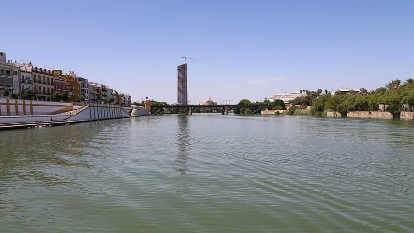 On the Guadalquivir River, Seville, Andalusia, southern Spain - HD stock footage clip