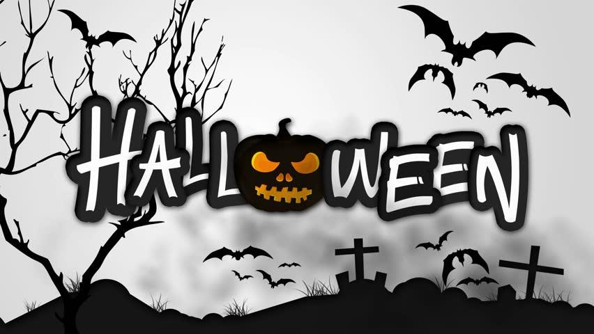 Halloween Black Pumpkin Night Graveyard Animation - 4K Resolution Ultra HD UHD | Shutterstock HD Video #7554805