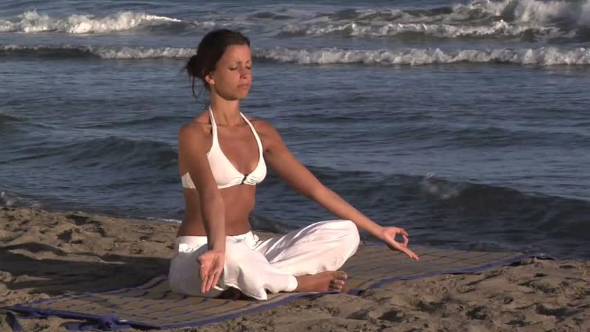 spiritualism on the beach - HD stock footage clip