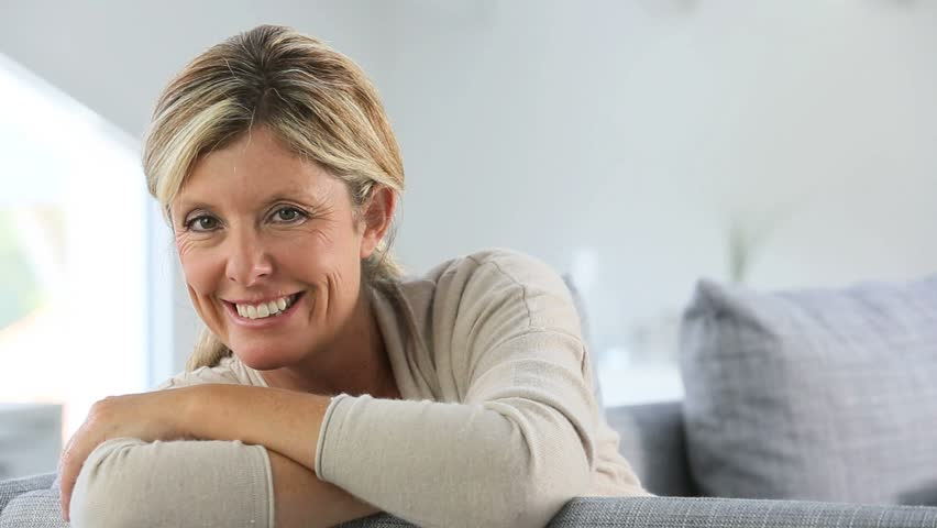 Portrait Of Beautiful 40 Year Old Woman Stock Footage