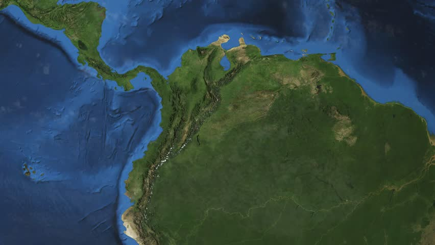 Colombia. 3d earth in space - zoom in on Colombia contoured.