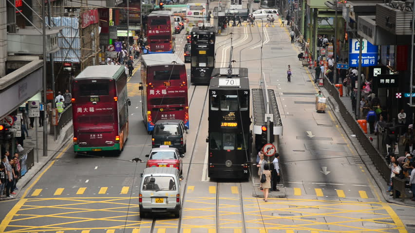Hong Kong - Circa August 2014 Time Lapse of Pedestrians and Traffic in Hong Kong's Central District - Circa August 2014 - HD stock footage clip