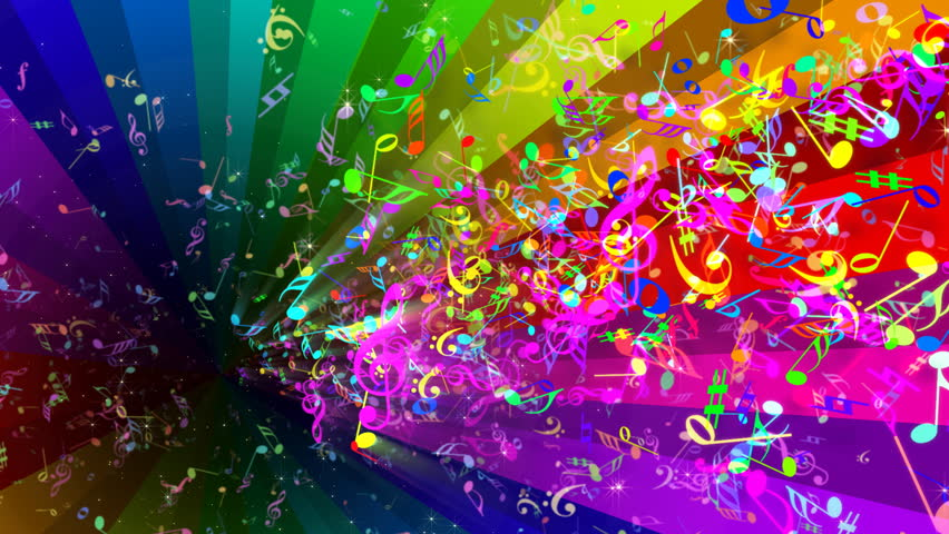 Rainbow Music Notes Background Hd Wallpaper Background Images: Rainbow Rotating Strips In Black Background Stock Footage