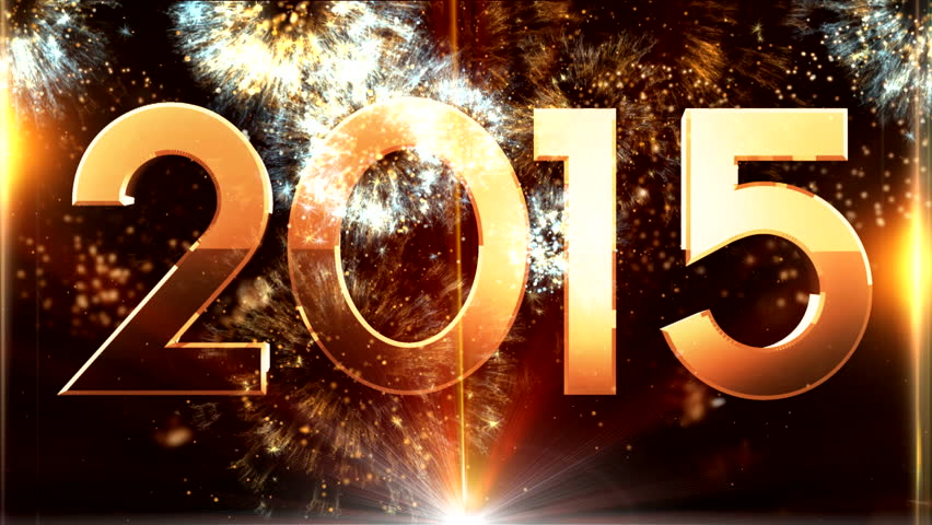 New year 2015 animation with ambient fireworks sound ( Series 4 + Version from 1 to 10 )