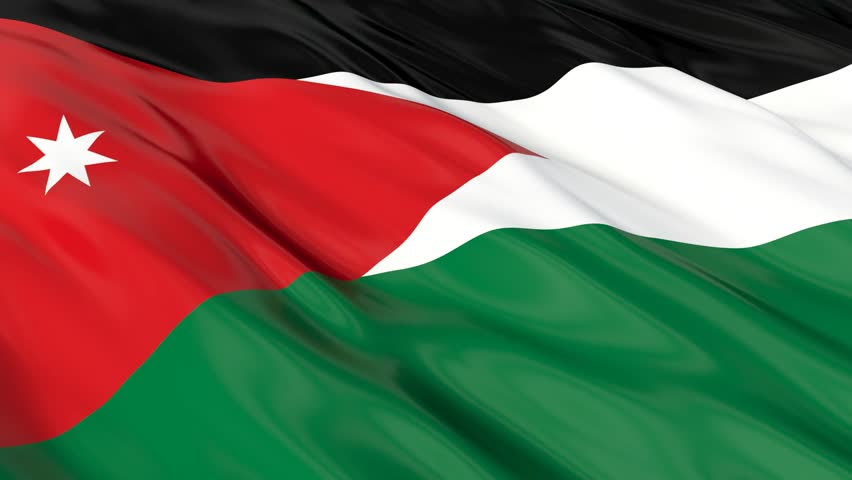 Flag of Jordan waving in the wind. Seamless looping. 3d generated. - HD stock footage clip