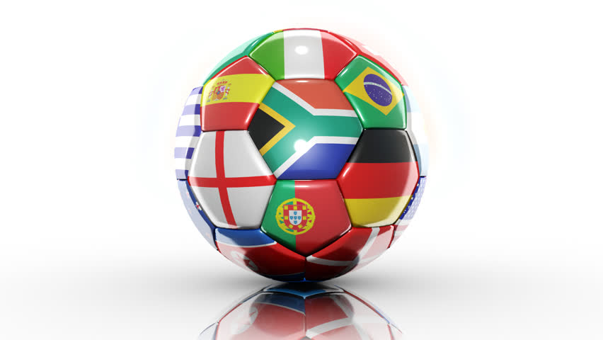 Looping animation a soccer ball with flags. On White