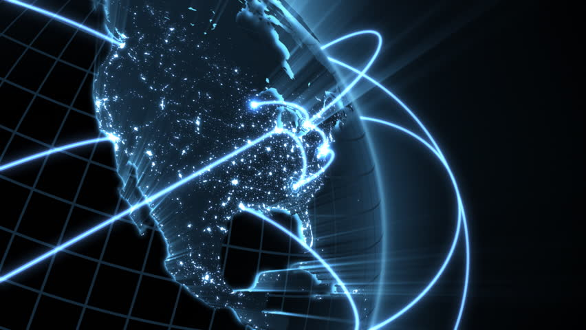 Growing Global Network  - blue version  - HD stock video clip