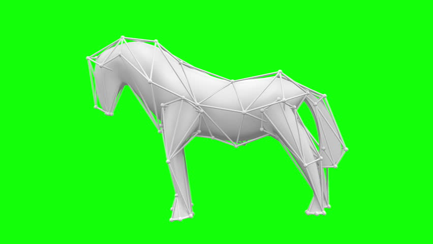 Limited molecular lattice, the white, horse is created from low poly parts.Green screen. | Shutterstock HD Video #7621459