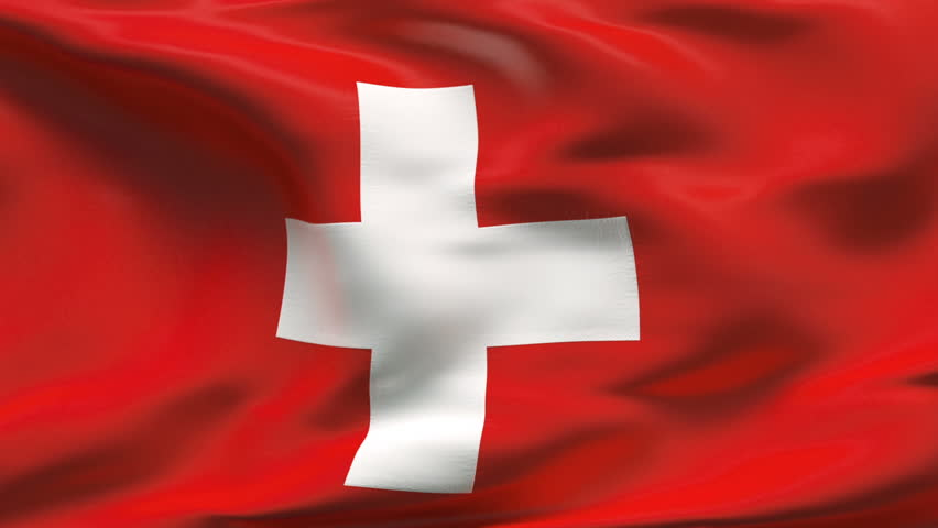Creased Swiss satin flag with visible wrinkle and seams - HD stock video clip