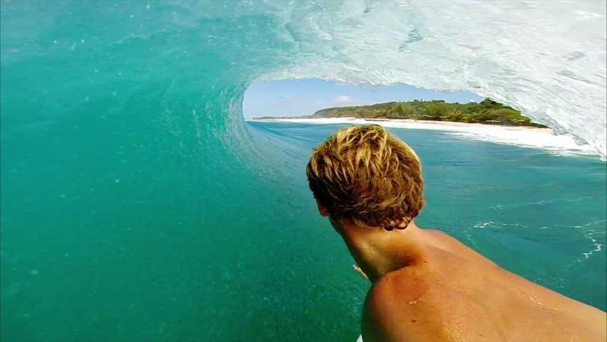 POV Man Surfing Ocean Wave, Extreme Sport HD  | Shutterstock HD Video #7645309
