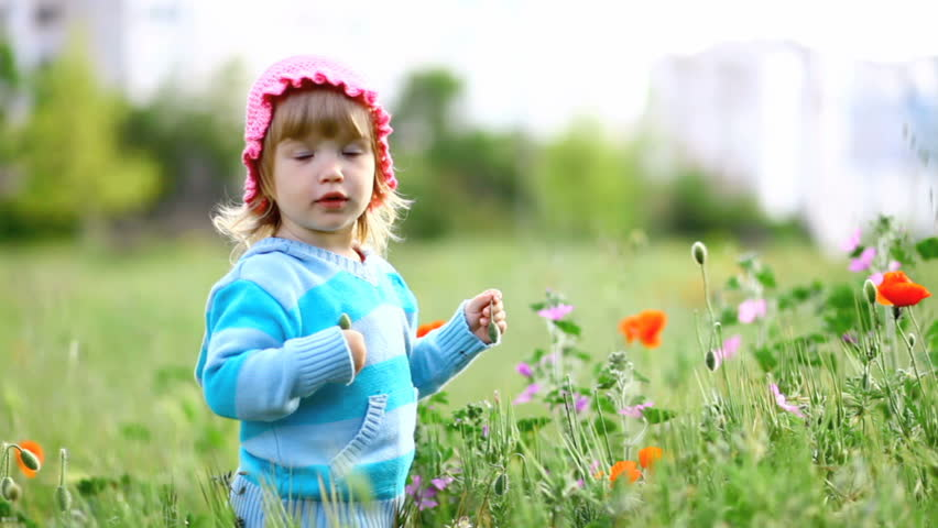 A child in a field of laughs, hiding in the grass-1_1 - HD stock footage clip