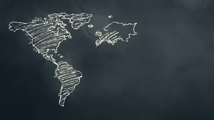 World Map Scribbling on a Chalkboard