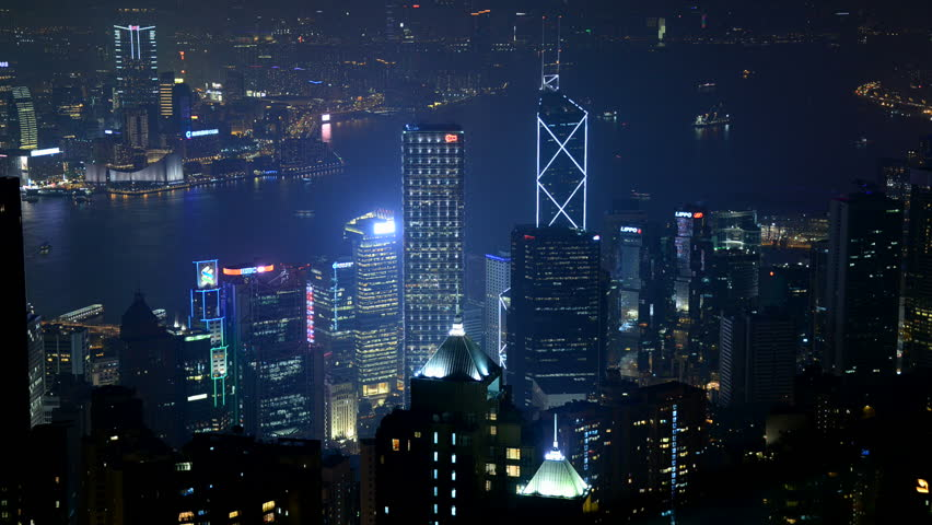 Time Lapse of Hong Kong City and Victoria Harbour at Night from Victoria Peak | Shutterstock HD Video #7670095