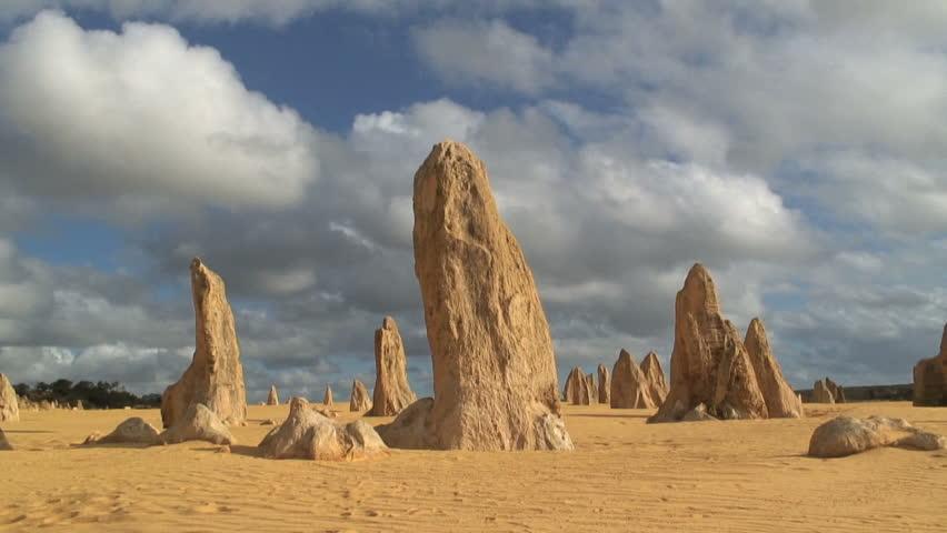 Desert Rock Pillars : Time lapse of the pinnacles showing limestone pillars