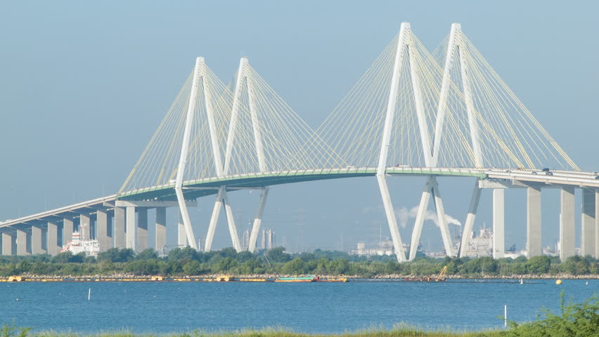 Blue Skies Of Texas >> Closeup Of The Fred Hartman Baytown Cable Stayed Bridge ...