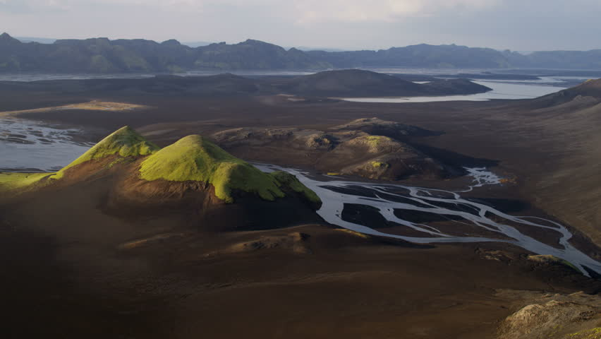 Aerial fertile glacial region Iceland tundra fresh water lakes natural mineral deposits river deltas eco tourism RED EPIC