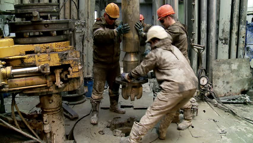 SURGUT, - September 03: Installing a new bit at the drill rig. September 03, 2013 in Surgut, Yugra, Russia. - HD stock video clip
