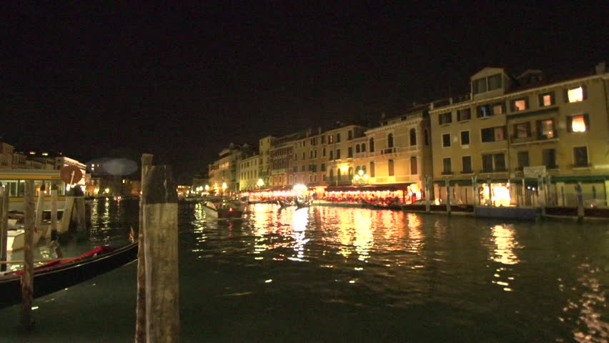 Venice at night canal boats - HD stock video clip