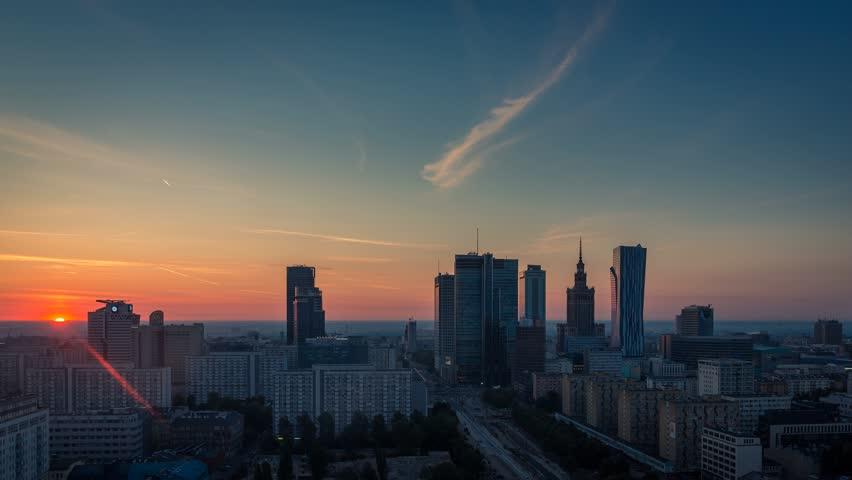 Warsaw Skyline Sunrise City Timelapse (wide angle), Polish Capital