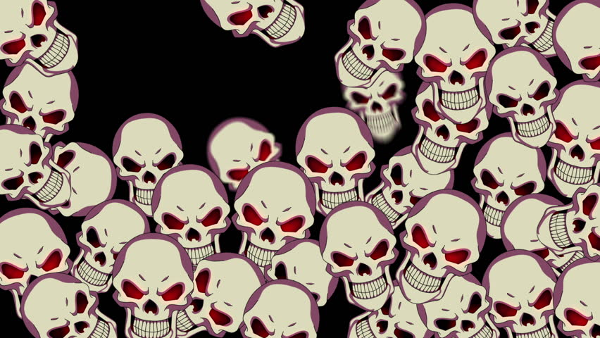 HD animated background featuring bouncy creepy skull particles. - HD stock footage clip