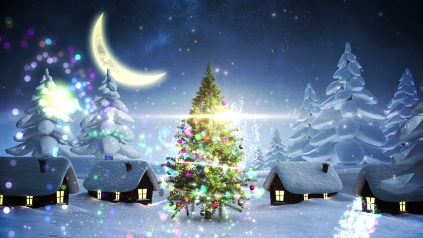 Animated Glowing Light Merry Christmas Text In A Night