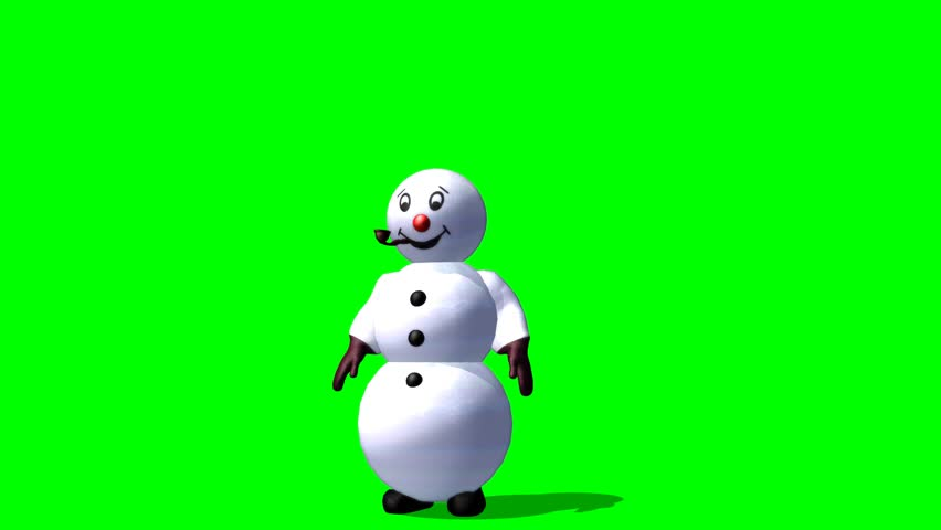 Snowman says hello and waves - green screen
