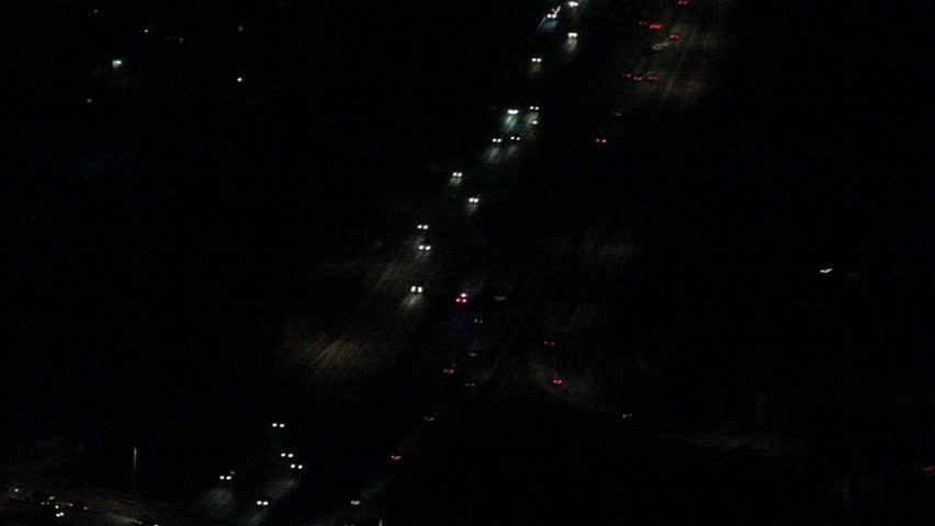 Tragic roadway accident on interstate at night view from news aircraft   Shutterstock HD Video #7747783