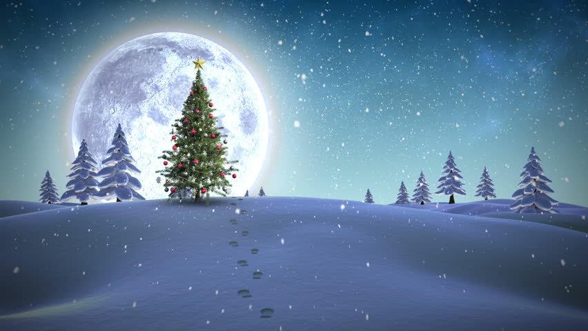 HD- Beautiful Christmas Scene Animated Art - Light Snow ...