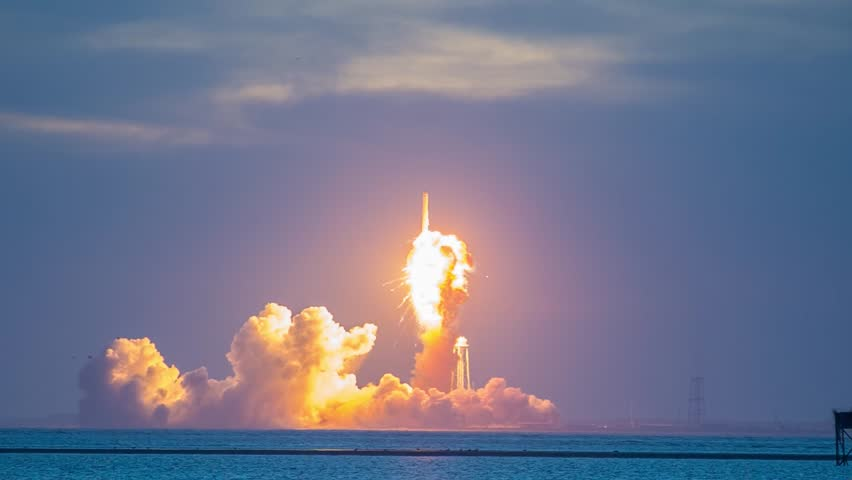 WALLOPS ISLAND, VA - OCTOBER 28: An Orbital Sciences Corp. Antares rocket explodes shortly after launch on October 28 at NASA's Wallops Flight Facility.  The mission was to supply the ISS.
