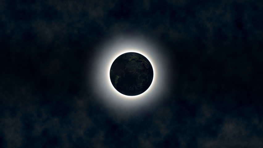 First we see an eclipse, then the camera travels near the Earth through the atmosphere. - HD stock footage clip