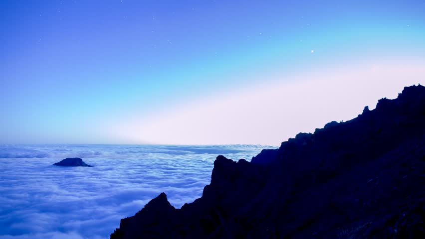 Sunset, then Milky Way with mountain, above the clouds on isla de La Palma, Canary Islands, Spain. Timelapse footage.